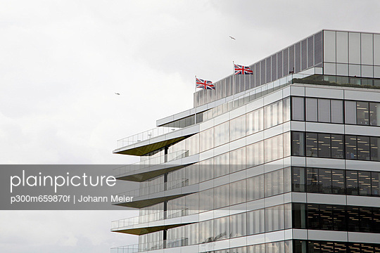 Modern architecture with british flags