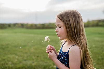 Side view of girl blowing dandelion flower on grassy field - p1166m1568997 by Cavan Images
