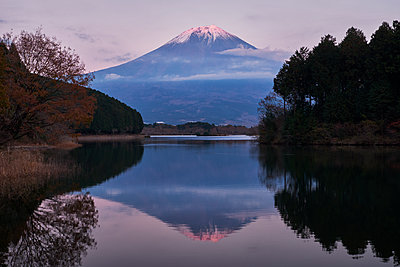 View of Mount Fuji at sunset from lake Tanuki, Shizuoka Prefecture - p1166m2078149 by Cavan Images