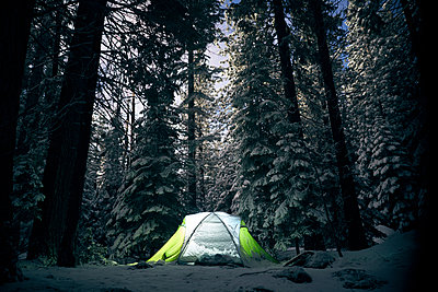 Illuminated tent on snow covered field at Yosemite National Park - p1166m1414711 by Cavan Images