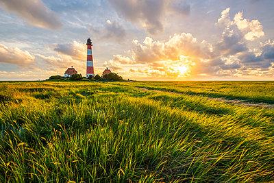 Westerhever lighthouse, Eiderstedt, North Frisia, Schleswig-Holstein, Germany. - p651m2007323 by Marco Bottigelli