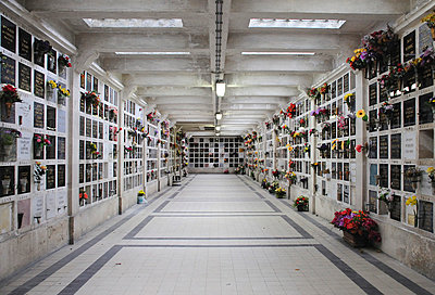 Inside Crematorium with plaques holding ashes. Pere Lachaise cemetery in Paris (II) - p1072m829317 by Neville Mountford-Hoare