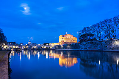 Moonlight at dusk on River Tiber, Ponte and Castel Sant'Angelo, UNESCO World Heritage Site, Rome, Lazio, Italy, Europe - p871m2209742 by Roberto Moiola