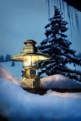 Oil Lamp In Mountain Scenery - p1026m874756f by Robert Niedring