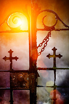 Old church gate in the sun - p1280m1112698 by Dave Wall