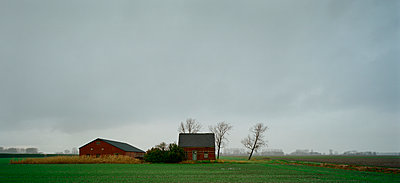 Deserted farm in the rain - p1132m925603 by Mischa Keijser