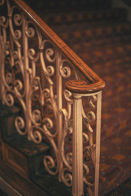 Antique Carpeted Stairway and Railing - p1617m2264078 by Barb McKinney