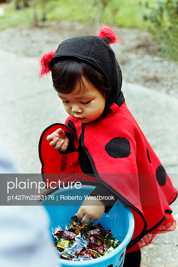 Girl wearing ladybird costume with trick or treat bucket - p1427m2283176 by Roberto Westbrook