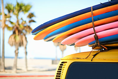 Multi-coloured surfboards tied onto vehicle, Venice Beach, Los Angeles, USA - p924m1136040f by Peter Muller