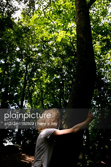 Mädchen lehnt an einem Baum im Wald - p1212m1152922 von harry + lidy