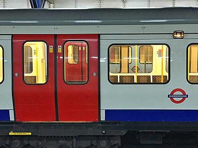 Underground tube train London, UK - p1048m2016771 by Mark Wagner