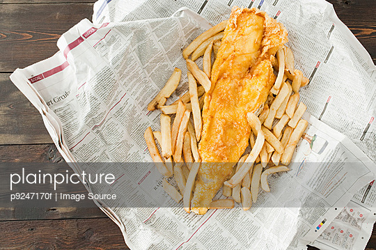 Fish and chips - p9247170f by Image Source