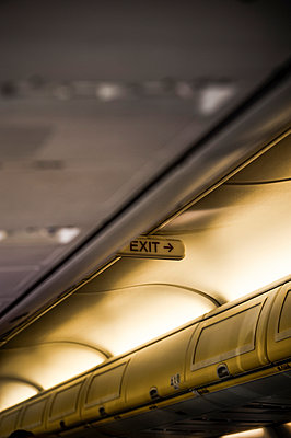 Exit sign on a plane ceiling - p1047m1004823 by Sally Mundy