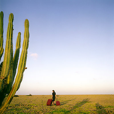 Woman with suitcases lost in desert - p1231m1043042 by Iris Loonen
