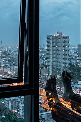 View from a hotel room in the evening - p728m2206033 by Peter Nitsch
