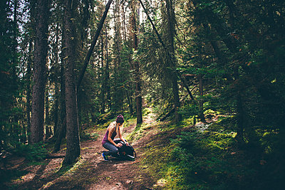 Hiker checking backpack in forest, Johnston Canyon trail, Banff, Canada - p924m2077961 by Sara Monika
