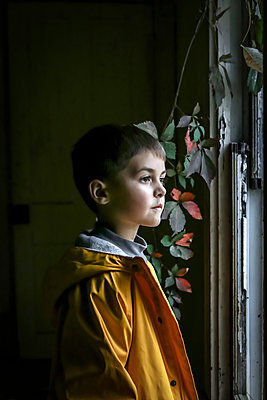 Little boy looking out of window - p1019m1496304 by Stephen Carroll
