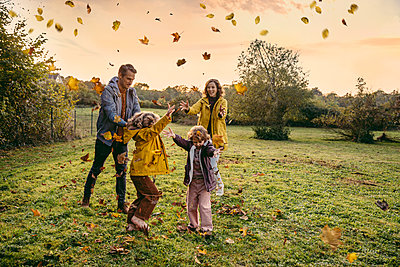 Happy family playing with autumn leaves on a meadow - p300m2160614 by Mareen Fischinger