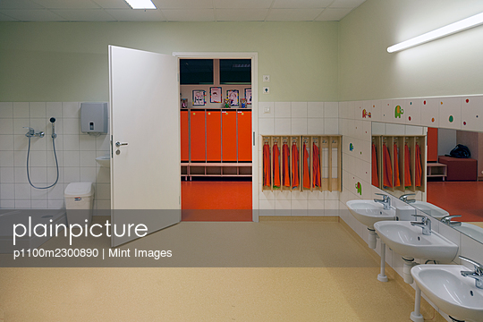 Modern day care nursery or pre-school kindergarten, spacious interiors, washroom and lockers - p1100m2300890 by Mint Images