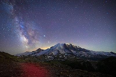 Stunning Milky Way Over Mt. Rainier in Mt. Rainier National Park - p1166m2129853 by Cavan Images