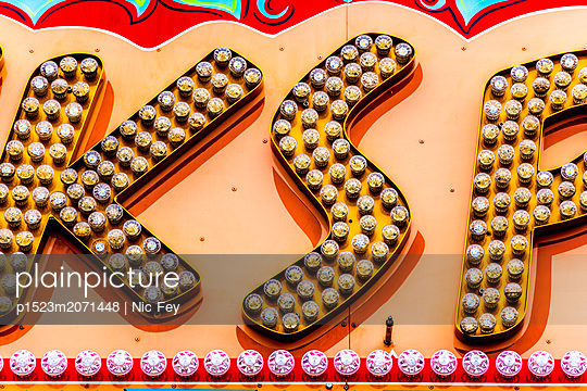 Funfair, Neon sign - p1523m2071448 by Nic Fey