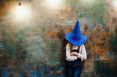 The girl and blue wizard hat - p1412m1516681 by Svetlana Shemeleva