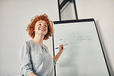 Smiling businesswoman leading a presentation at flip chart in conference room - p300m2156871 by Zeljko Dangubic