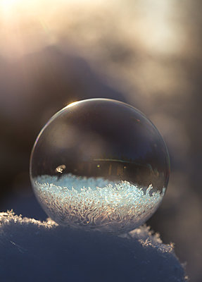 Soap bubble on the snow - p1251m1122611 by Heikki Tabell