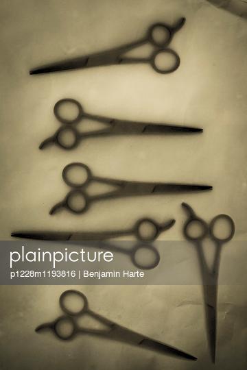 Arrangement of scissors frozen in ice - p1228m1193816 by Benjamin Harte