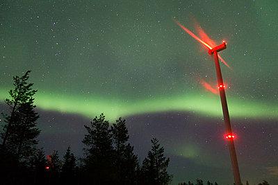 Wind turbine against Northern lights - p1079m1042431 by Ulrich Mertens
