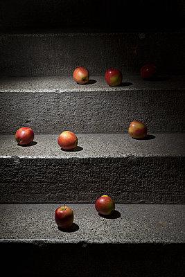 Äpfel auf der Kellertreppe - p1149m1133285 von Yvonne Röder
