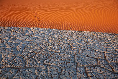 Cracked lake bed and sand dune, Namib Naukluft National Park, Namib Desert, Sossusvlei, Dead Vlei, Africa - p429m1029826 by Stephen Lux