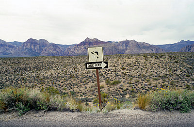 One Way Road Sign - Red Rock State Park, Clark County, Nevada - p1072m830314 by Scott Wishart
