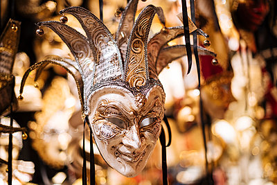 Traditional Venetian masks on display, San Marco, Venice, Veneto Province, Italy, Europe - p871m2003600 by Ben Pipe