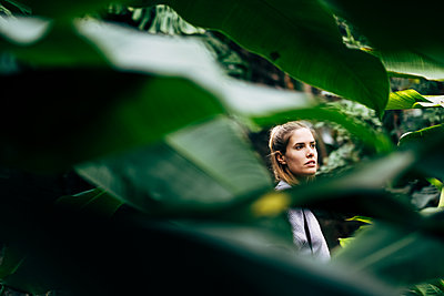 Portugal, Madeira, Funchal, Woman in Botanic garden - p1600m2175717 by Ole Spata