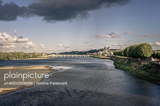 View over Loire river onto Saumur, France - p1402m2206206 by Jerome Paressant