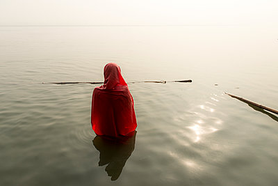 Woman on the Ganges - p1424m1500972 by Dylan H Brown