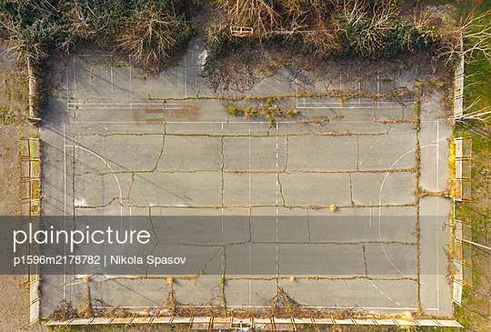 Aerial view of old football playground  - p1596m2178782 by Nikola Spasov