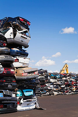 Cars in scrap yard - p9243814f by Image Source