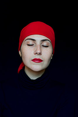 Model in a red head scarf - p1412m1539089 by Svetlana Shemeleva
