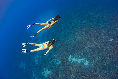 Two women free diving at Molokini Marine Preserve off the island of Maui; Maui, Hawaii, United States of America - p442m2032797 by Dave Fleetham