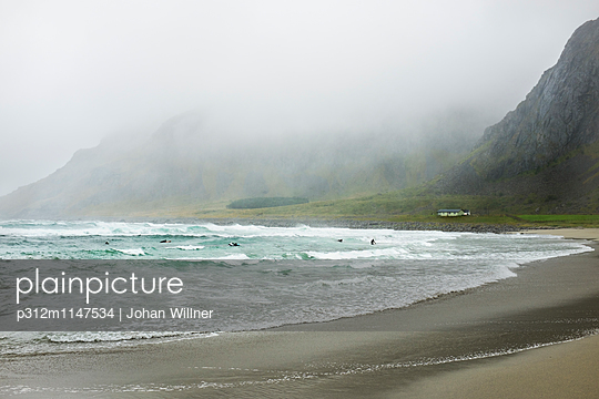 Beach at foggy day - p312m1147534 by Johan Willner