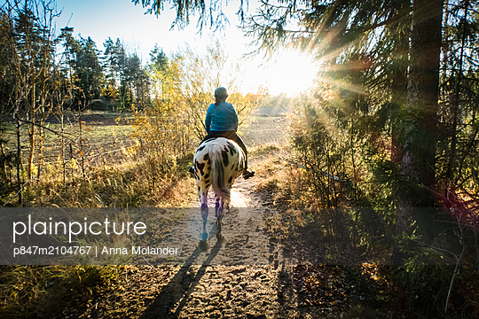 Woman On Spotted Horse Riding On Points At Sunset, Sweden   - p847m2104767 by Anna Molander