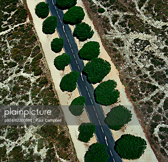 France, Corsica, Aerial view of coastal road near Ajaccio Airport - p924m2300860 by Paul Campbell