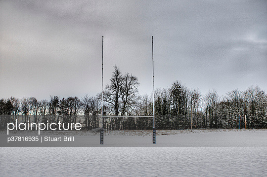 Rugby posts in snow - p37816935 by Stuart Brill