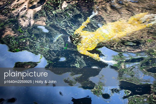 Woman in yellow dress swimming in lake - p1640m2259925 by Holly & John