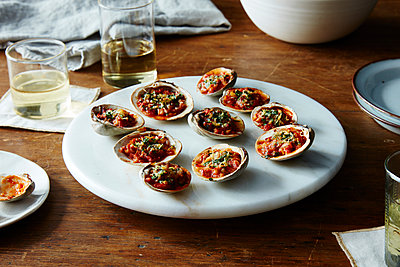 baked clams with amatriciana sauce - p1379m1467755 by James Ransom