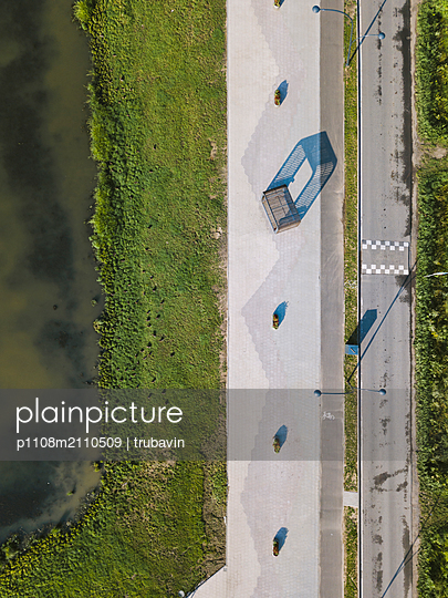 Aerial view of gardens and road - p1108m2110509 by trubavin