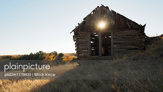 Weathered Wood Building On The Prairie