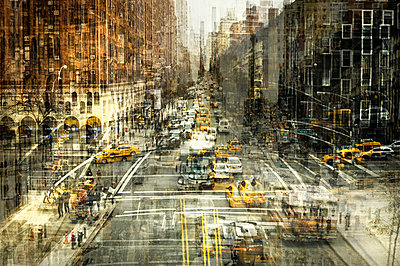 City traffic, taxis, New York City, multiple exposure - p1640m2245932 by Holly & John